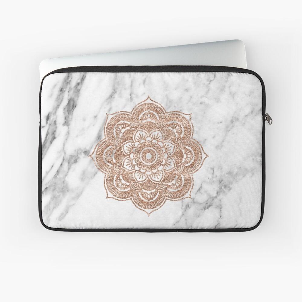 Rose gold mandala on marble Laptop Sleeve