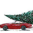 Auto der Weinlese achtziger Jahre, das einen Weihnachtsbaum trägt von blursbyai
