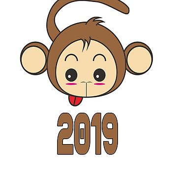 NEW YEAR'S Eve Brown Monkey  Funy Arts by AbdelaaliKamoun