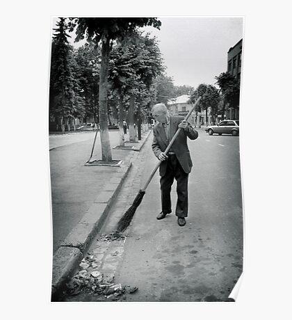 Street Sweeeper, Ivano-Frankivsk, Ukraine Poster