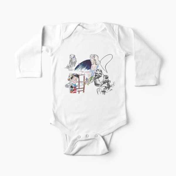 Story Lines - Pinocchio Characters Long Sleeve Baby One-Piece