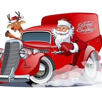 Cartoon retro Christmas van by Mechanick