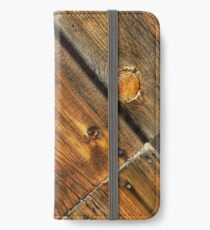 Wood Grain Pattern on Weathered Wooden Boards iPhone Wallet/Case/Skin