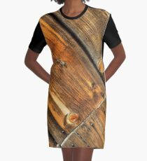Wood Grain Pattern on Weathered Wooden Boards Graphic T-Shirt Dress