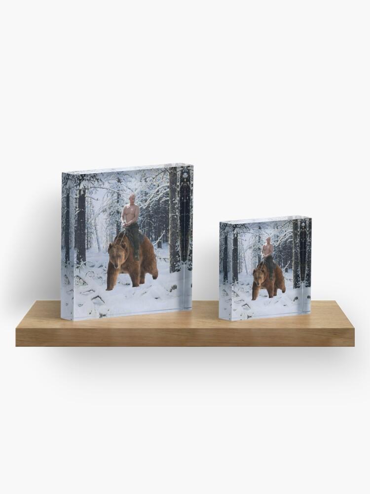 Alternate view of Putin on a bear Acrylic Block