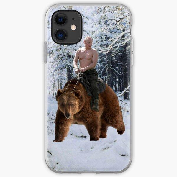 Putin on a bear iPhone Soft Case