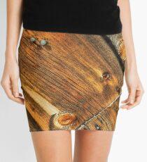 Wood Grain Pattern on Weathered Wooden Boards Mini Skirt