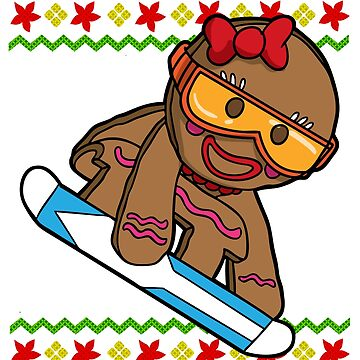 Snowboard Gingerbread Girl Snowflake Ugly Christmas by frittata