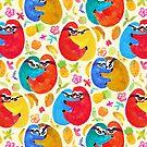 Happy Huggy Fruit Loving Sloths by Perrin Le Feuvre