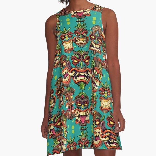 Tiki Head Repeating Pattern A-Line Dress