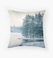 Winter at a Loch Near Kingussie (Cat Burton Photography) Throw Pillow