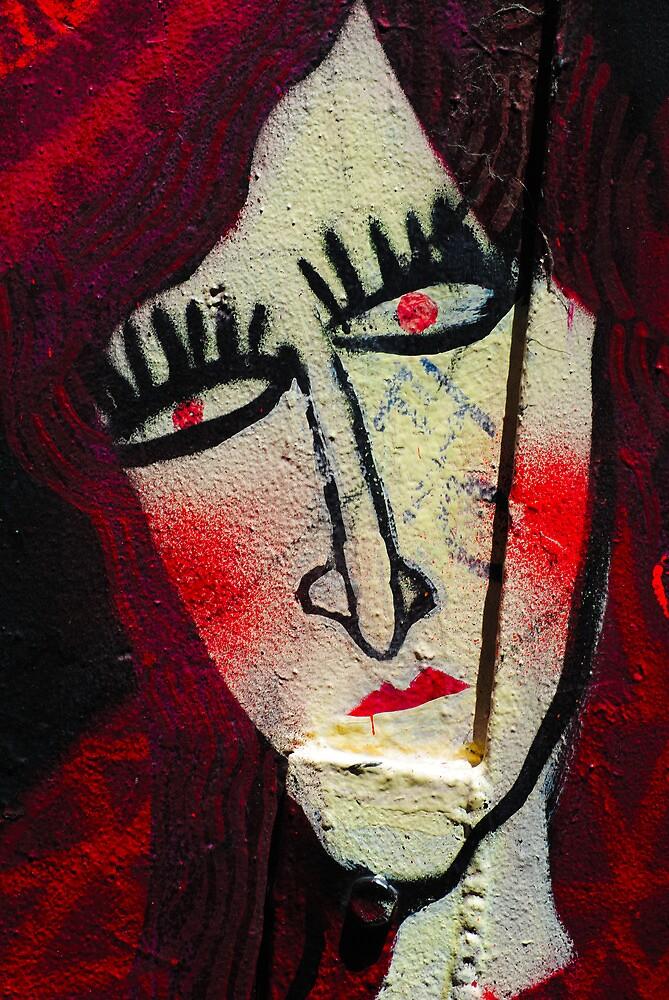 Red Lady on Wall by Bas Van Uyen