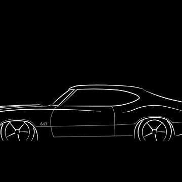 1970 Oldsmobile 442 - profile stencil, white by mal-photography