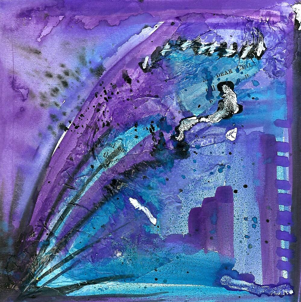 Explosive Purple Cityscape by Rosie Rowe