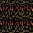 Retro Autumnal Gouache Leaves by Danelle Malan