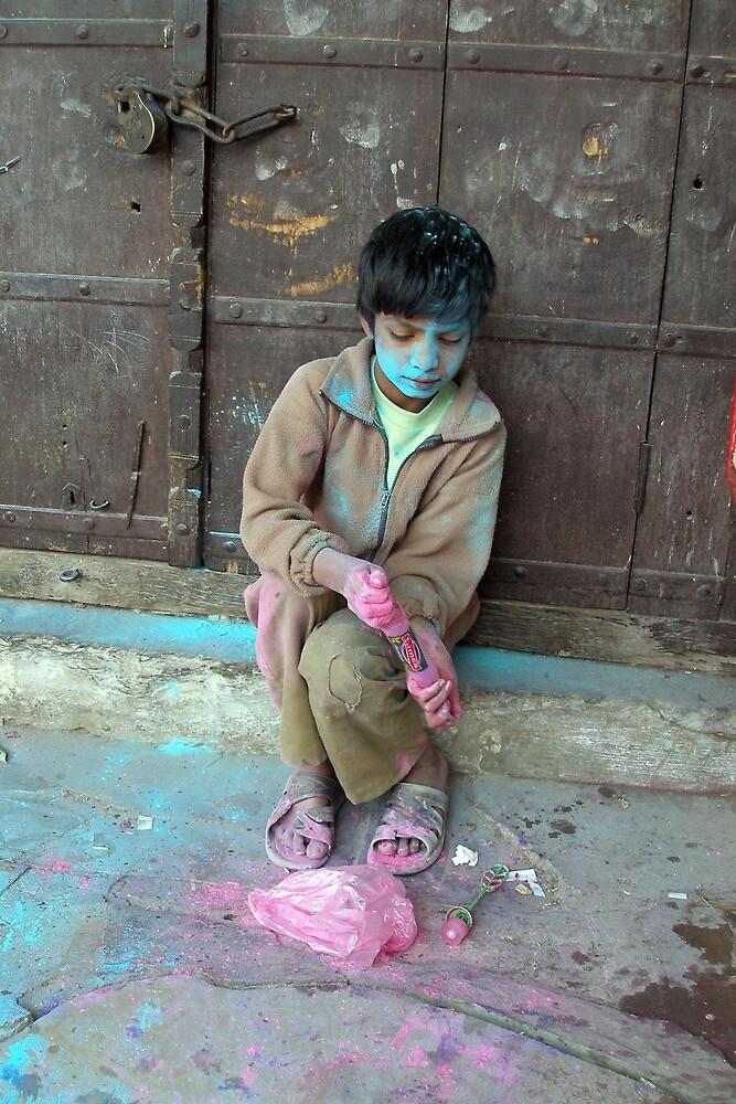 Boy at Holi Festival, Pushkar, Rajasthan,India by photoartindia