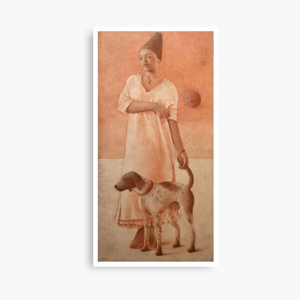 Girl With A Dog Canvas Print