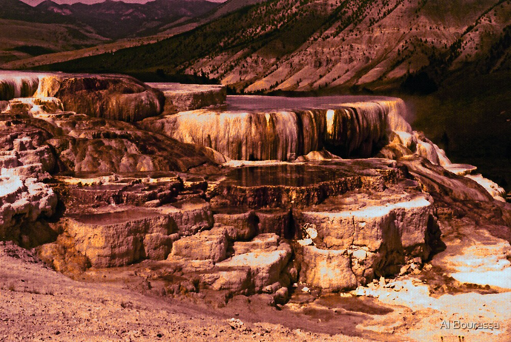 Mammoth Terraces - Yellowstone 1976 by Al Bourassa