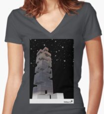 j-building by night Women's Fitted V-Neck T-Shirt