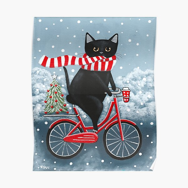 Black Cat Winter Bicycle Ride Poster