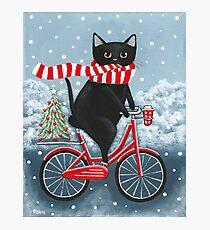 Black Cat Winter Bicycle Ride Photographic Print
