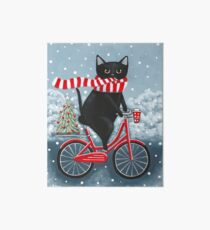 Black Cat Winter Bicycle Ride Art Board