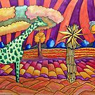 440 - LAND OF THE GREEN GIRAFFE - DAVE EDWARDS - MIXED MEDIA - 2018 by BLYTHART