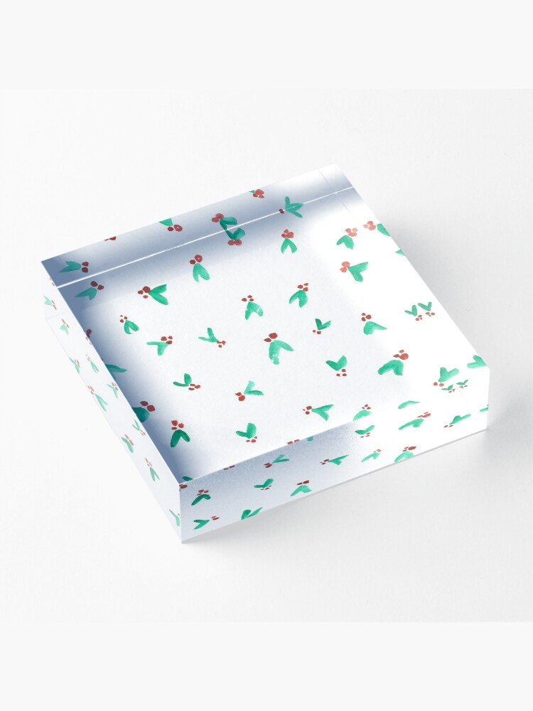 Alternate view of Mini Holly Watercolor Pattern Acrylic Block
