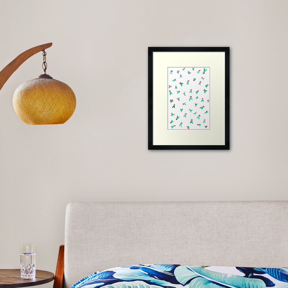Mini Holly Watercolor Pattern Framed Art Print