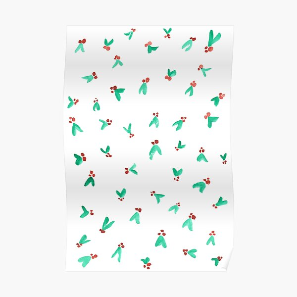 Mini Holly Watercolor Pattern Poster
