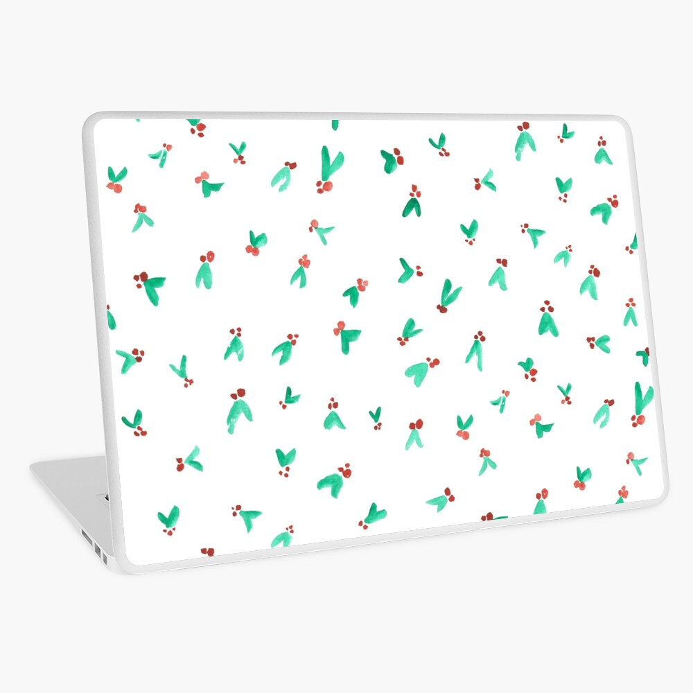 Mini Holly Watercolor Pattern Laptop Skin