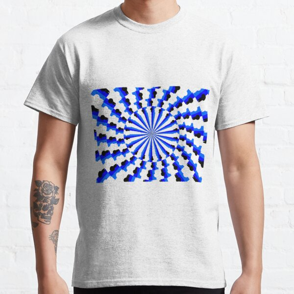 Illusion Pattern #blue #symmetry #circle #abstract #illustration #pattern #design #art #shape #bright #modern #horizontal #colorimage #royalblue #inarow #textured Classic T-Shirt