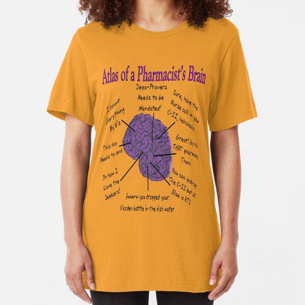 Funny Pharmacist's Brain T-Shirt Slim Fit T-Shirt
