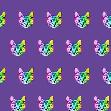 Rainbow,freaky,cat head,pattern,on purple by love999