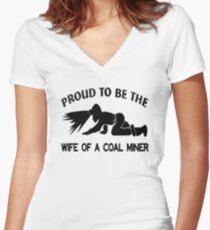 Coal Miner Wife Shirt - Gift For Coal Miner - Coal Miner Gift Women's Fitted V-Neck T-Shirt
