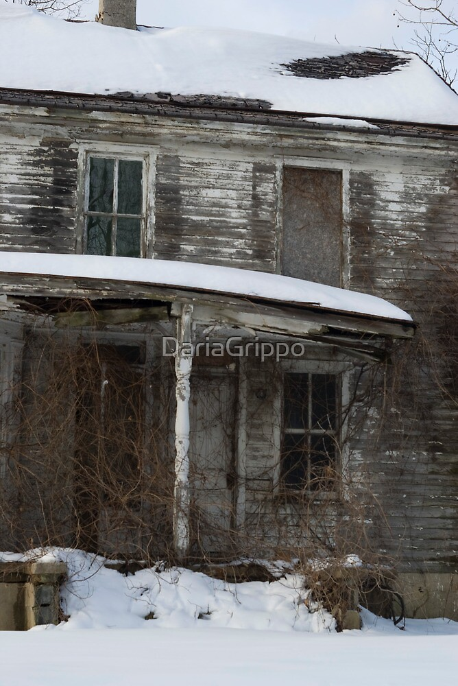 Snow covered abandoned house by DariaGrippo