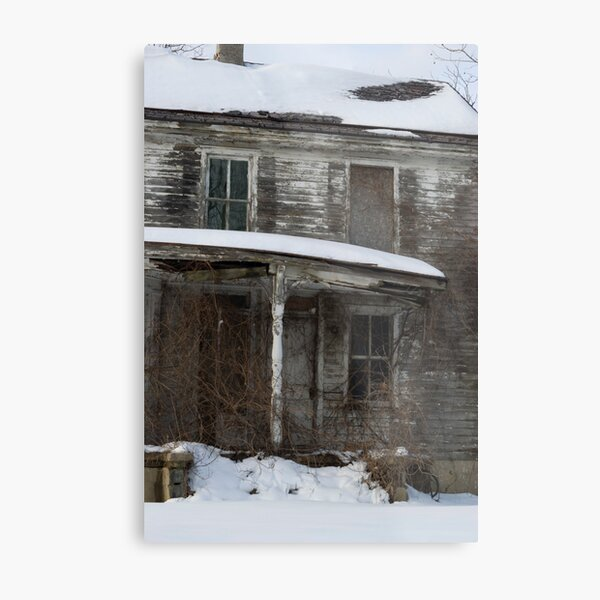 Snow covered abandoned house Metal Print