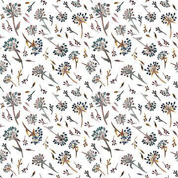 Falling flowers autumn watercolor pattern by shoshannahscrib