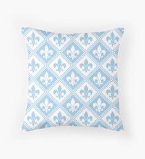 LightBlue Fleur de Lis and Diamond Pattern Throw Pillow