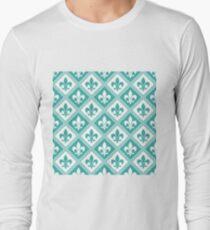 Teal Fleur de Lis and Diamond Pattern T-Shirt