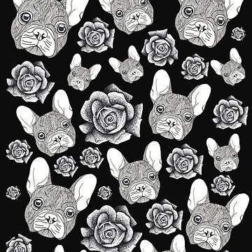 French-Bulldog and Roses  by Surrealist1