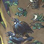 Tui Birds In Dawn Chorus by Patricia Howitt