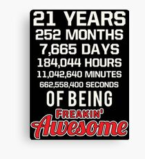 21st Birthday Shirt | Birthday Countdown | Of Being Awesome Canvas Print