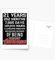 21st Birthday Shirt | Birthday Countdown | Of Being Awesome Postcards