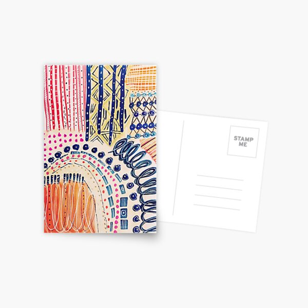 Shakti Abstract Hand Painted Design Postcard