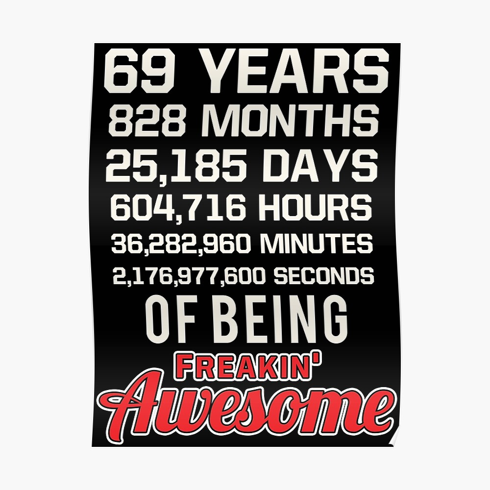 69th Birthday Shirt | Birthday Countdown | Of Being Awesome Poster