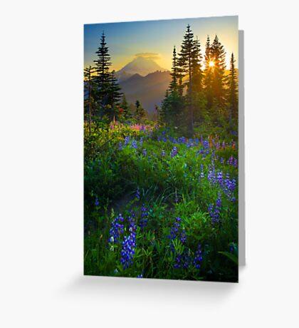 Mount Rainier Sunburst Greeting Card