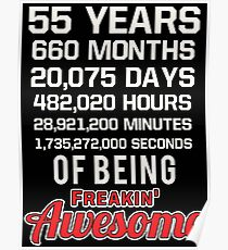 55th Birthday Shirt | Birthday Countdown | Of Being Awesome Poster