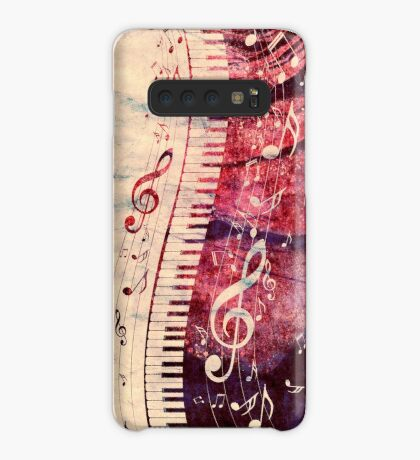 Klaviertastatur mit Musiknoten Grunge Hülle & Klebefolie für Samsung Galaxy