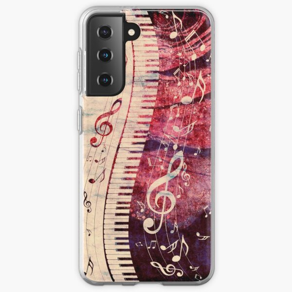 Piano Keyboard with Music Notes Grunge Samsung Galaxy Soft Case
